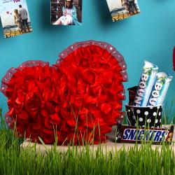 Roses Heart Cushion with Imported Chocolate Bucket
