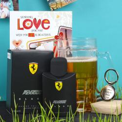 Scuderia Ferrari Black Spray with Freezing Mug Hamper Including Love Key Chain and Card for Madurai