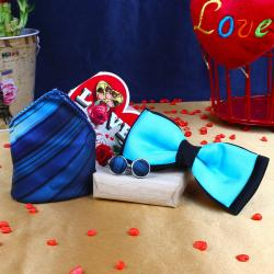 Shaded Blue Strips Cufflink Handkerchief with Panel Bow and Love Card