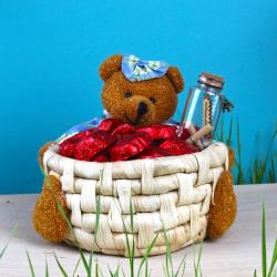 Teddy Basket of Heart Chocolate and Customize Message Scroll Bottle