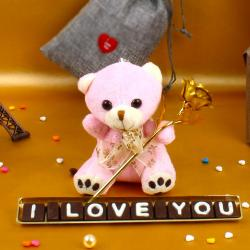 Teddy with Love You Chocolates and Gold Plated Golden Rose For My Valentine