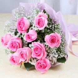 Ten lovely Pink Roses Bouquet For Valentine