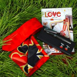 Tie Cufflinks Handkerchief Gift Set with Silver Pen and Love Card for Khopoli
