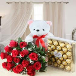 Valentine Best Combo of Rocher Chocolates with Fresh Roses and Teddy Bear for Nadia