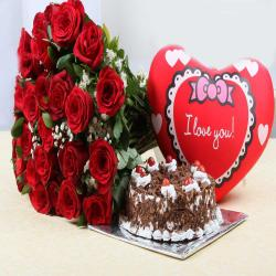 Valentine Bouquet of Roses with Heart Small Cushion and Black Forest Cake