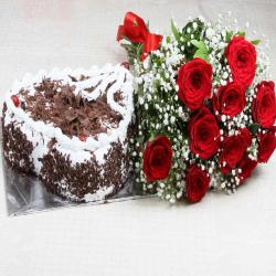 Valentine Combo of Heart Shape Black Forest Cake with Red Roses Bouquet