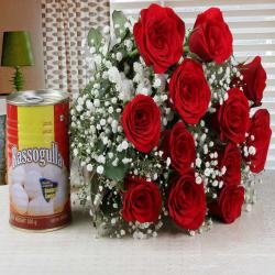 Valentine Combo of Red Roses Bouquet with Rasgulla for Nalgonda