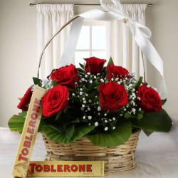 Valentine Combo of Roses and Toblerone Chocolate