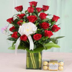 Valentine Exclusive Arrangement of Red Roses with Ferrero Rocher Chocolate
