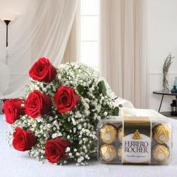 Valentine Exclusive Hamper of Red Roses with Ferrero Rocher Chocolate