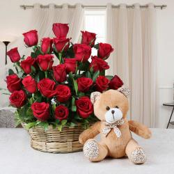 Valentine Gift Combo of Red Roses with Teddy Bear