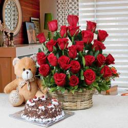 Valentine Gift of Black Forest Cake and Basket of Red Roses with Teddy Bear