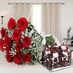 Valentine Gift of Black Forest Cake and Red Roses Bouquet