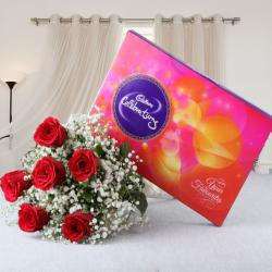 Valentine Gift of Cadbury Celebration Chocolate Pack with Red Roses Bouquet