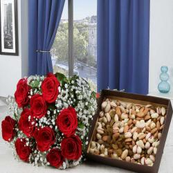 Valentine Gift of Red Roses Bouquet with Mixed Dryfruits