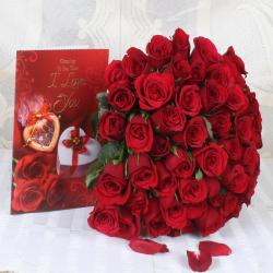 Valentine Gift of Romantic Red Roses with Love Greeting Card for Kanchipuram