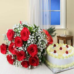 Valentine Gift of Ten Red Roses Bouquet with Half Kg Pineapple Cake