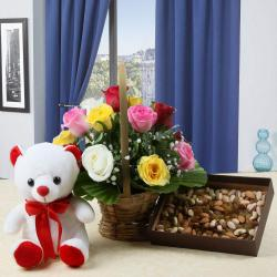 Valentine Hamper of Colorful Roses Arrangement and Teddy Bear with Dry Fruits