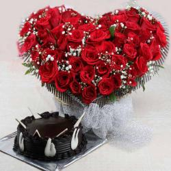 Valentine Heart Shaped Red Roses Basket with Chocolate Cake for Ongole