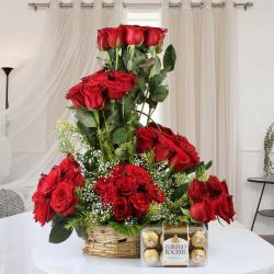 Valentine Love Gift of Ferrero Rocher Chocolate with Designer Red Roses in Basket