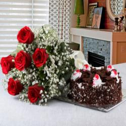 Valentine Perfect Gift of Black Forest Cake with Red Roses Bouquet