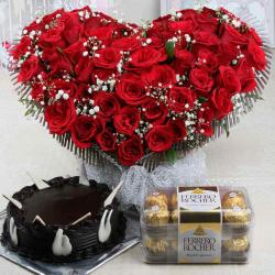 Valentine Roses Arrangement with Chocolate Cake and Ferrero Rocher Box
