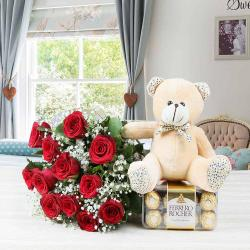 Valentine Special Gift of Ferrero Rocher Chocolate with Roses Bouquet and Teddy Bear