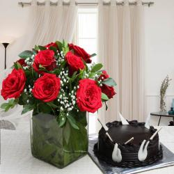 Valentine Special Vase of Red Roses and Chocolate Cake