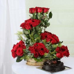 Valentine Surprise of Dark Chocolate Cake with Exotic Roses Arrangement