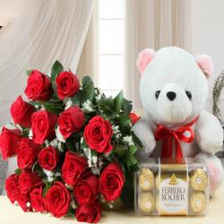 Valentines Day  Gift of Teddy Bear with Ferrero Rocher Chocolate and Red Roses Bouquet