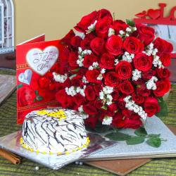 Vanilla Cake with Red Roses Bouquet wirth Love Greeting Card