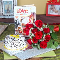 Vanilla Cake with Roses Bouquet and Love Greeting Card